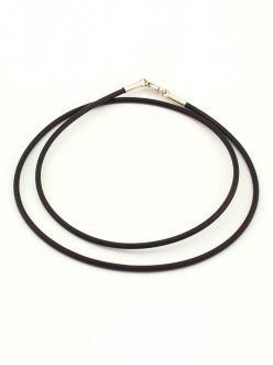Каучуковий шнурок чорний зі срібною застібкою