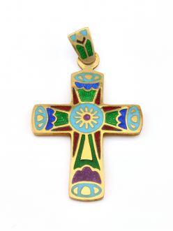 Срібний хрест з емаллю Сонце