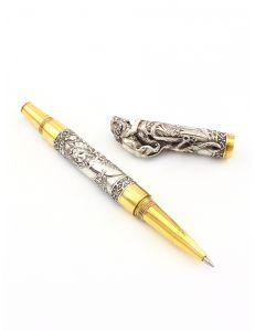 Ручка Лев зі смарагдом