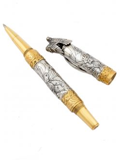 Срібна ручка Орел з діамантом